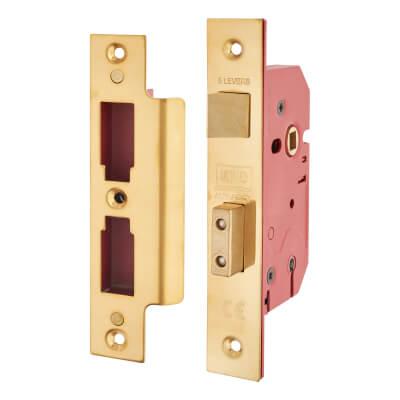 UNION® 2201 5 Lever Sashlock - Keyed Alike - 77mm Case - 57mm Backset - Brass