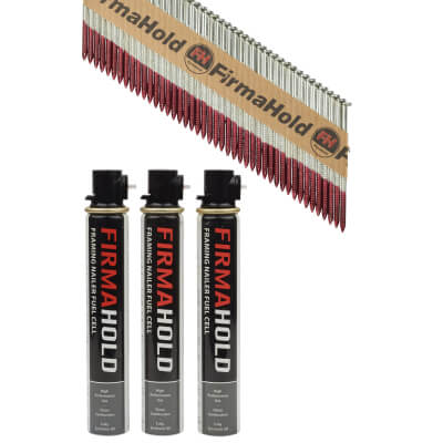 TIMco 34° FirmaHold Clipped Head Nail and Gas - First Fix - 2.8 x 63mm - FirmaGalv - 3 Fuel Cells