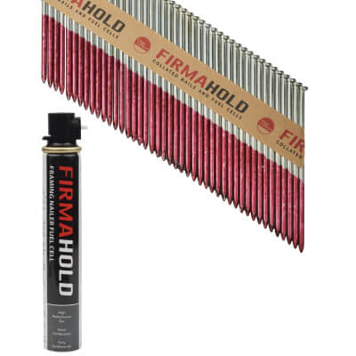 TIMco 34° FirmaHold Clipped Head Nail and Gas - First Fix - 3.1 x 90mm - FirmaGalv - 1 Fuel Cel