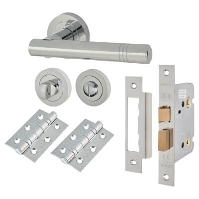 Touchpoint Dakota Lever Door Handle - Bathroom Lock Kit - Polished Chrome
