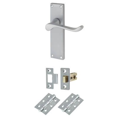 Aglio Victorian Scroll Handle Door Kit - Long Latch Set - Satin Chrome
