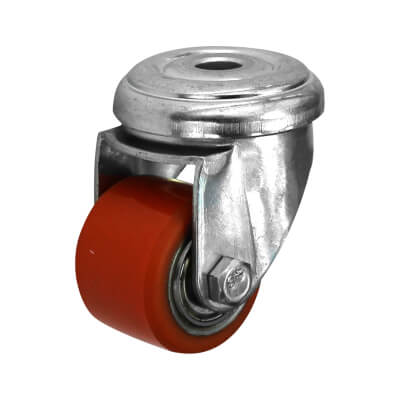Coldene Super Low Level and High Load Castor - Bolt Hole - 120kg Maximum Weight - Red)