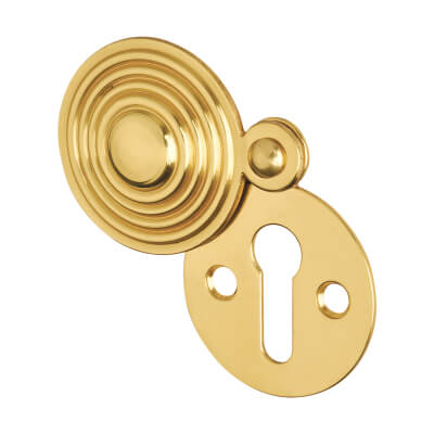 Reeded Covered Escutcheon - Keyhole - Polished Brass