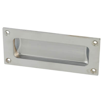 Rectangular Flush Aluminium Door Pull - 102 x 45mm - Satin Chrome