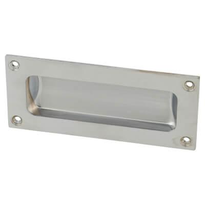 Rectangular Flush Aluminium Door Pull - 102 x 45mm - Satin Chrome