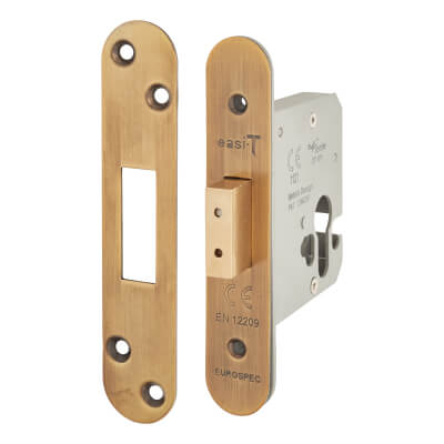 A-Spec Architectural Euro Deadlock - 78mm Case - 57mm Backset - Radius - Florentine Bronze