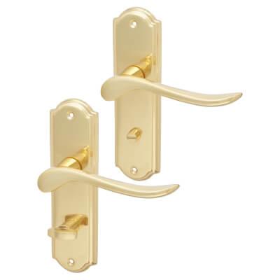 Elan Turin Door Handle - Bathroom Set - Polished Brass