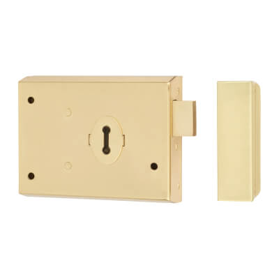 Rim Lock - Deadlock - Brass