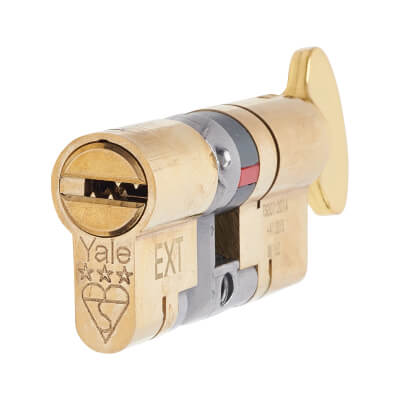 Yale® 3 Star Anti-Snap Platinum Euro Thumbturn Cylinder - 80mm Length - 40[k]* + 40mm - Brass