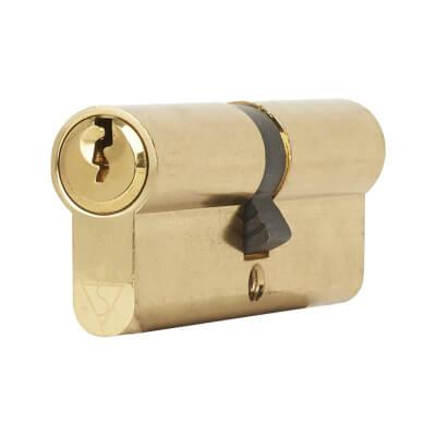 Yale® 1 Star Kitemarked Euro Double Cylinder - Keyed Alike - 45 + 45mm - Polished Brass