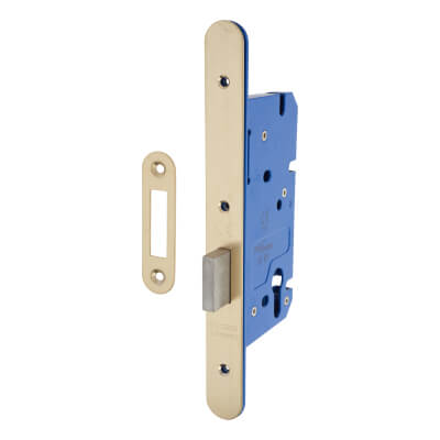 A-Spec Architectural DIN Euro Deadlock - 85mm Case - 60mm Backset - Radius - PVD Brass