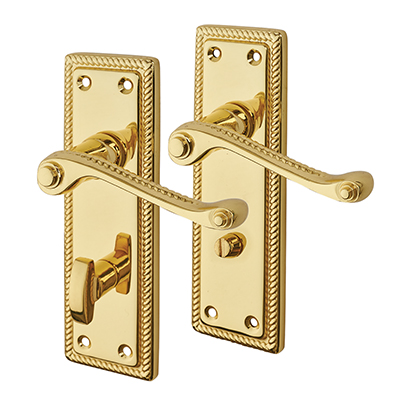 Touchpoint Budget Rope Edge Scroll Door Handle - Bathroom Set - Polished Brass