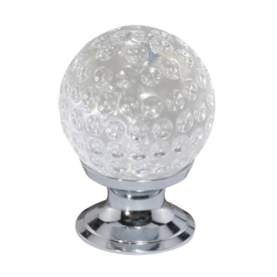 Aglio Ball Dimpled Cut Glass Cabinet Knob - 28mm - Polished Chrome