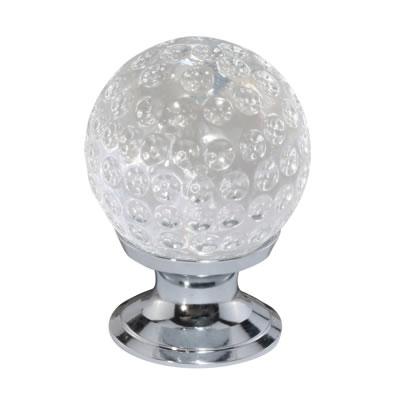 Aglio Ball Dimpled Cut Glass Cabinet Knob - 28mm - Polished Chrome