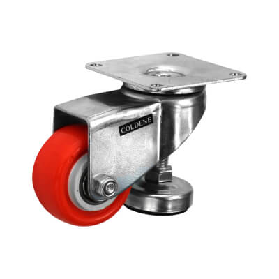 Coldene Heel Castor with Levelling Foot - Swivel - 60kg Maximum Weight - Orange)