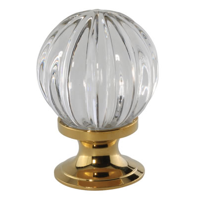Aglio Floral Glass Cabinet Knob - 30mm - Polished Brass