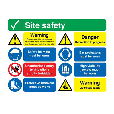 Site Safety Notice/Dangerous Site - 600 x 800mm
