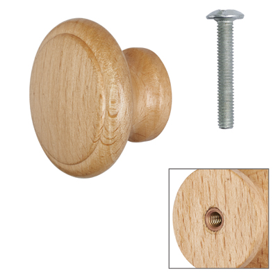Cabinet Knob - Beech Lacquered - with Bolt & Insert - 35mm - Pack of 5