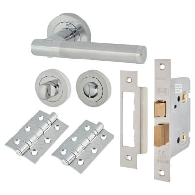 Touchpoint Bella Lever Door Handle - Bathroom Lock Kit - Polished/Satin Chrome)