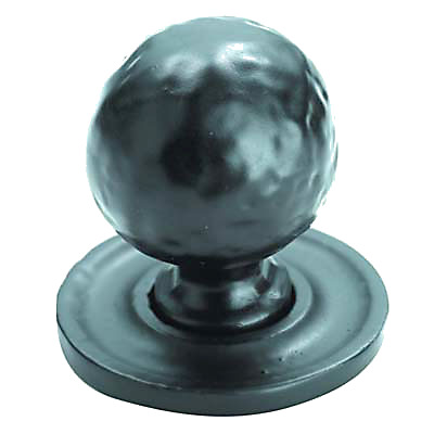Cabinet Knob - 32mm on 37mm Plate - Antique Black Iron