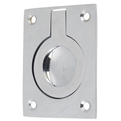 Rectangular Flush Ring Pull - 63 x 50mm - Polished Chrome