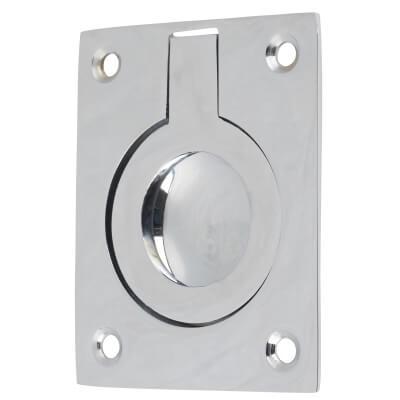 Rectangular Flush Ring Pull - 63 x 50mm - Polished Chrome