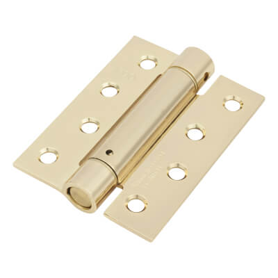Adjustable Sprung Hinge - 100 x 75mm - Electro Brass Plated