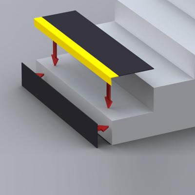 SlipGrip Stair Tread - 1500 x 345 x 55mm - Yellow)