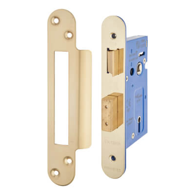 A-Spec Architectural 3 Lever Sashlock - 65mm Case - 44mm Backset - Radius - PVD Brass