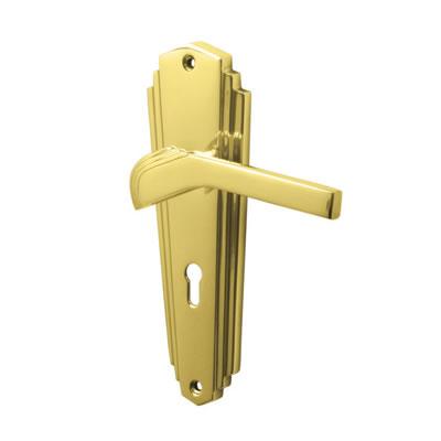 M Marcus Waldorf Door Handle - Keyhole Lock Set - Polished Brass