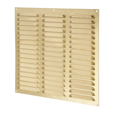 Hooded Louvre Vent - 305 x 305mm - 23750mm2 Free Air Flow - Polished Brass