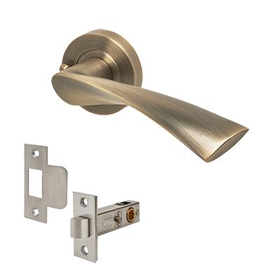 Excel Flex Door Handle - Privacy Kit - Antique Brass
