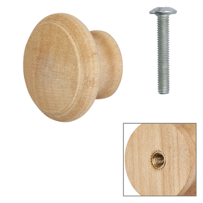 Cabinet Knob - Raw Maple - with Bolt & Insert - 30mm - Pack of 5