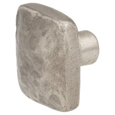 FingerTip Design Hammered Effect Square Cabinet Knob - 42mm - Pewter Effect