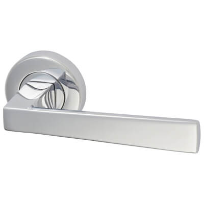 M Marcus Siloh Lever Door Handle on Rose - Polished Chrome