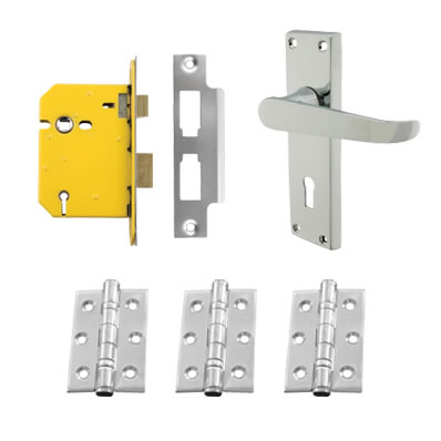Aglio Victorian Handle Door Kit - Keyhole Lock Set - Polished Chrome