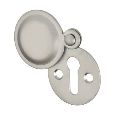 Victorian Covered Escutcheon - Keyhole - Satin Chrome