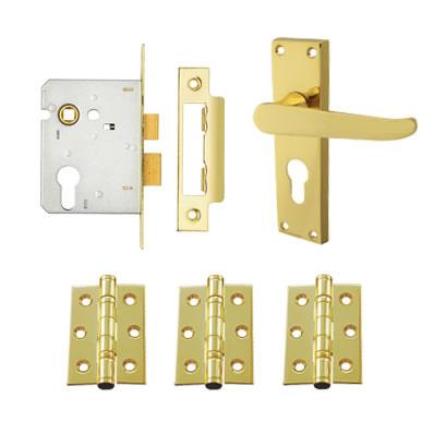 Aglio Victorian Handle Door Kit - Euro Lock Set - Polished Brass