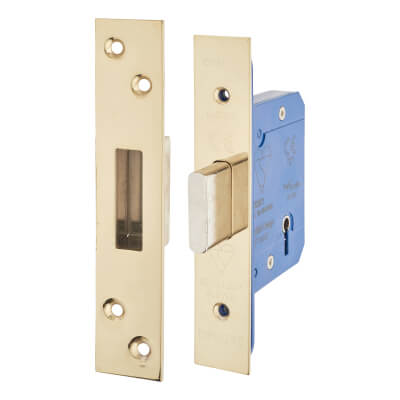 A-Spec BS3621 5 Lever Deadlock - 65mm Case - 44mm Backset - PVD Brass