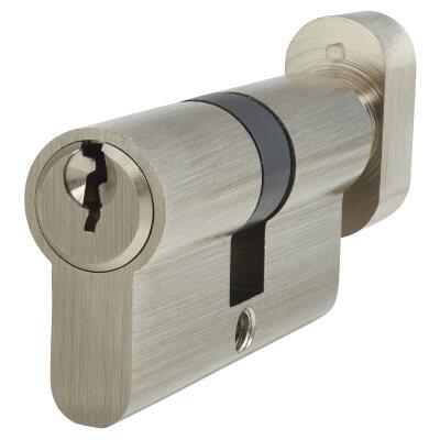 5 Pin Cylinder - Euro Thumbturn - Length 60mm - 30[k]* + 30mm - Nickel)
