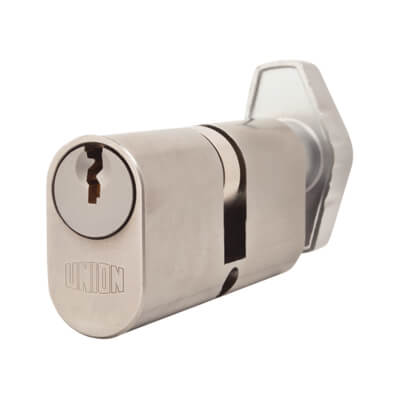 UNION® J2X13 Oval Thumbturn Cylinder - 32[k]* + 32mm - Satin Chrome)