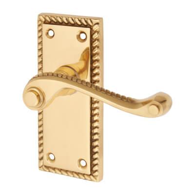 Aglio Georgian Door Handle - Short Plate - Polished Brass)