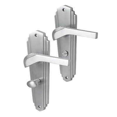 M Marcus Waldorf Door Handle - Bathroom Set - Satin Chrome