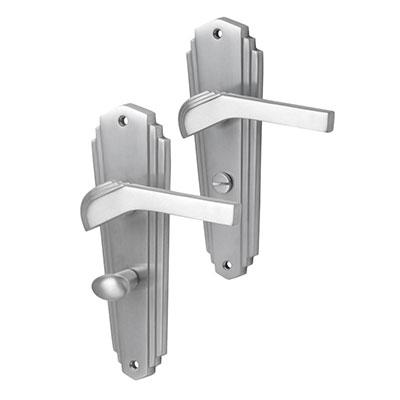 M Marcus Waldorf Door Handle - Bathroom Set - Satin Chrome