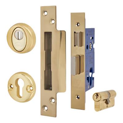 BS3621 Euro Sashlock & Double Cylinder - Case 78mm - Backset 57mm - PVD Brass - Square Forend