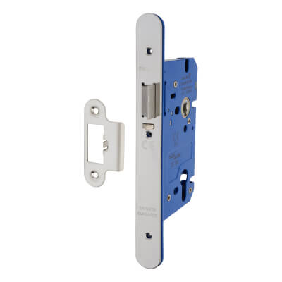 A-Spec Architectural DIN Euro Mortice Nightlatch - 85mm Case - 60mm Backset - Radius - Polished Sta