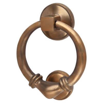 Louis Fraser Ringed Round Door Knocker - 95mm - Light Bronze