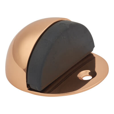 Oval Floor Door Stop - 45mm - Polished Copper