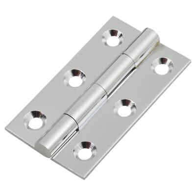 Solid Drawn Hinge - 50 x 28 x 1.45mm - Polished Chrome