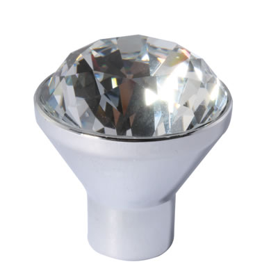 Aglio Raised Cut Crystal Glass Cabinet Knob - 34mm - Polished Chrome